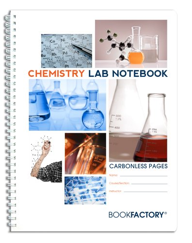 "BookFactory Carbonless Chemistry Lab Notebook - 25 Sets of Pages (8.5"" X 11"") (Duplicator) - Scientific Grid Pages, Durable Translucent Cover, Wire-O Binding (LAB-025-7GW-D (Chemistry))"