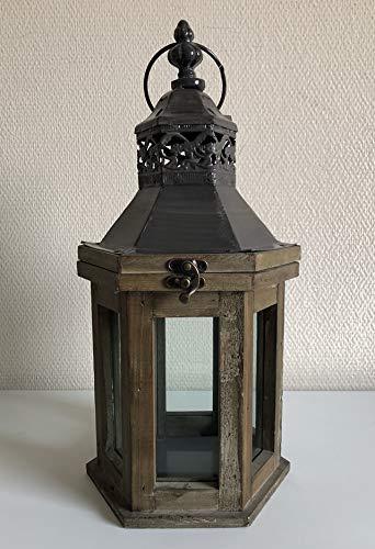 Unbekannt Laterne aus Holz mit Metalldach Windlicht Höhe 38,5 cm S