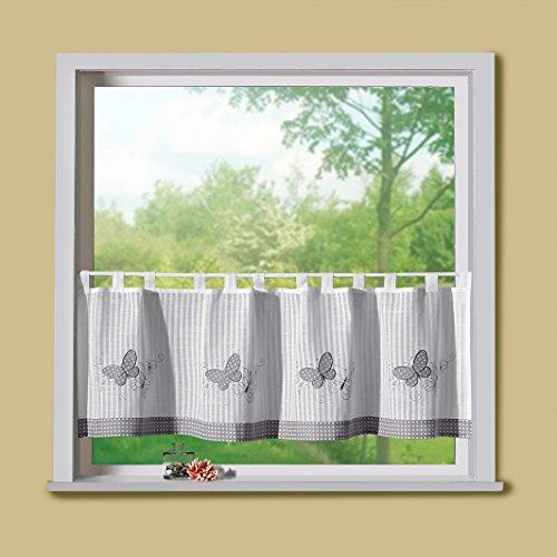 Scheibengardine Leinen-Optik liebevoll Bestickt mit Schmetterling Applikation und Pünktchen Stoff in grau-weiß HxB 45x150 cm Modern Country Chic Landhaus Panneaux Gardine Typ329