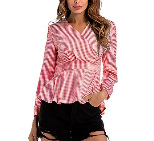 HaiDean Damen Oberteile Elegant Frühjahr Herbst Langarm V-Ausschnitt Almsach Hemd Mode Jungen Hipster Asymmetrisch Slim Fit Shirt Tops Mit Plissee-Falten Uni-Farben Mädchen Bluse