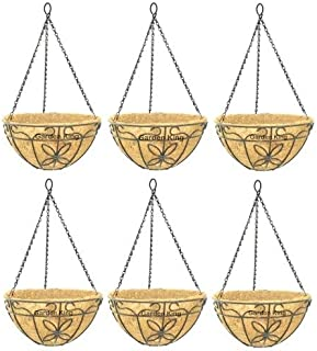 GARDEN KING- 14 INCH- Coir Hanging Basket-with Chain - Coir Hanging Flower Plant Container for Garden (Set of 6PCS)