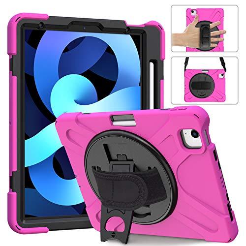 QANG iPad Air 4 10.9' Caso, Tres Capa Resistente Cuerpo Completo Funda Protectora con Soporte/Correa de Mano/a Hombro Correa/Portalápiz para iPad Air 4 10.9' (Rosa roja)
