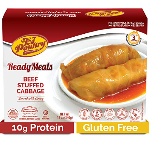 Kosher Mre Meat Meals Ready to Eat, Gluten Free Beef Stuffed Cabbage Rolls (1 Pack) - Prepared Entree Fully Cooked, Shelf Stable Microwave Dinner – Travel, Military, Camping, Emergency Survival Food