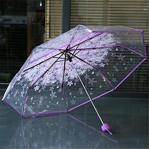 Creativo 3 plegable paraguas mujeres paraguas transparente lluvia mujeres paraguas clásico cereza Sakura patrón claro paraguas suministros - púrpura, a1