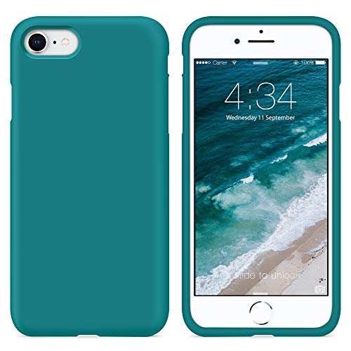 SURPHY Funda iPhone SE 2020, Funda para iPhone 7 iPhone 8 Silicona Case, Carcasa Silicona Líquida con Forro de Microfibra, Compatible con iPhone 7 iPhone 8 iPhone SE 2020 4.7', Verde Azulado