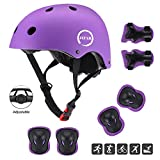 JIFAR Youth Kids Bike Helmet for Ages 3-11, Adjustable Toddler Protective Gear with Elbow Knee Wrist Pads for Skateboarding Bicycling Hiking, S Size for Girls Boys Helmet,Purple