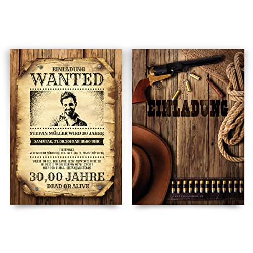 Einladungskarten (20 Stück) zum Geburtstag als Wanted Kopfgeld Poster