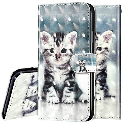 Surakey kompatibel mit Huawei P40 Lite Hülle Leder Handyhülle,Bunt 3D Bling Glitzer Glänzend Muster Leder Tasche Schutzhülle Klapphülle im Bookstyle Handytasche Flip Case Cover,Katze