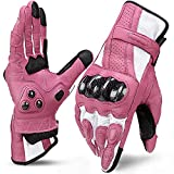 INBIKE Leather Motorcycle Gloves with Carbon Fiber Hard Knuckle Touch Screen for Women Pink Medium