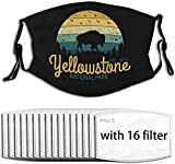 Titafel Yellowstone National Park Wyoming Buffalo Bison Vintage Cloth Face Mask Unisex Windproof Facial Decorations For Adults With 16 Filters