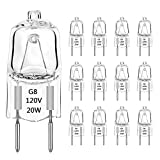 G8 Halogen Light Bulbs 20W Dimmable 120V G8 Base 2Pin Xenon Bulb T4 JCD Type Warm White Under Cabinet Puck Lighting Replacements (12 Pack)