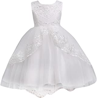Kids Toddler Baby Girls Dresses Sleeveless Solid Lace Print Princess Party Formal Clothes
