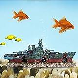 Cuque Pez naufragio Decoración de Barco, Acuario Barco hundido, Barco hundido Acorazado Animales de Acuario Mascotas para Peces