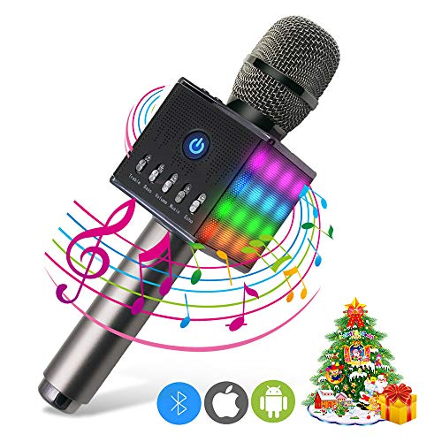 ERAY Microfono Karaoke Bluetooth Wireless, LED Flash Microfono Portatile Karaoke Altoparlante 10W (Android/iOS/iPad/PC), 2 Altoparlanti/Supporta la Carta di TF / 2000 mAh Batteria, Colore Nero