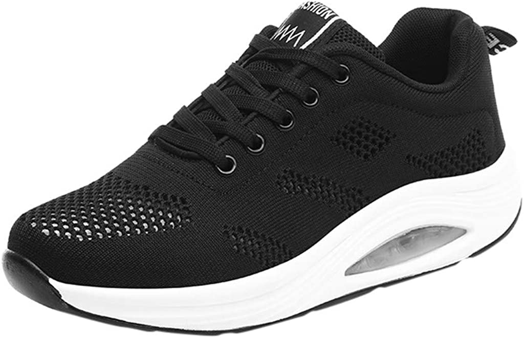 FADK Women's Fashion Sneakers Mesh Breathable Lace-up Tennis Shoes Walking Running Shoes