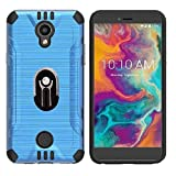 for Boost Mobile Coolpad Legacy S 16GB Prepaid Smartphone, Texture Brushed Cover Case with Ring/Kickstand/Car Mount + Tempered Glass (Blue)