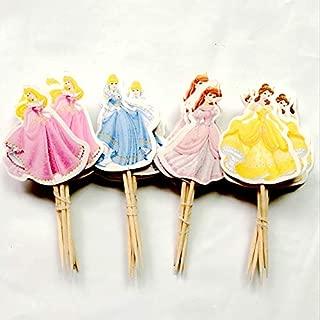 Encore Buy 4 Princess Cupcake Topper Set - Ariel (6), Aurora (6), Belle (6), Cinderella (6) - 24 Pieces Total