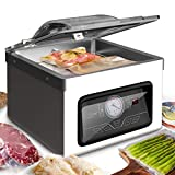 NutriChef PKVS70STS Vacuum Sealer Machine-350W Commercial 8L Chamber Type Automatic System Air Machine Meat Packing Sealing Storage Preservation Sous Vide, Vac Roll Bags, Large, Stainless Steel