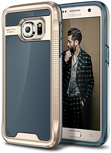 E LV Case for Galaxy S7 Case Hybrid [Scratch/Dust Proof] Armor Defender Slim Shock-Absorption Bumper Case for Samsung Galaxy S7 - [Dark Blue/Gold]