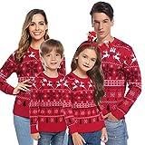 Aibrou Unisex Maglione a Maniera Lunga per Natale, Maglia con Modello di Renna Neve, Maglioni Famiglia Coordinati per papà Mamma Bambini