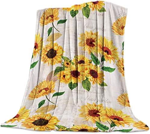 Best Advancey Fuzzy Throw Blanket for Bed Sunflower On Vintage Newspaper Background Warm Throw Blanket fo