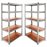 OcioDual 2x Estanteria Metalica Galvanizada 875kg 5 Baldas 180 x 90 x 40cm Ideal...