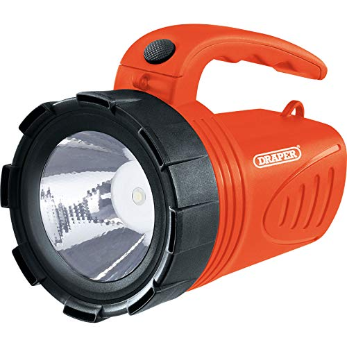 Draper 66013 3W LED Rechargeable Spotlight Torch Orange Camping Garage Home