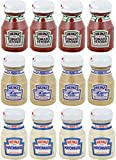 Pack of 12 Glass Bottles - 4 Ketchup (2.25 oz) - 4 Mustard (2.0 oz) - 4 Mayonnaise (1.8 oz) They're Great to Stash in Backpacks and Purses, Take on the Road when Traveling. Classy Condiment in a Glass Bottle. Perfect Portion Control Size. One Dozen B...