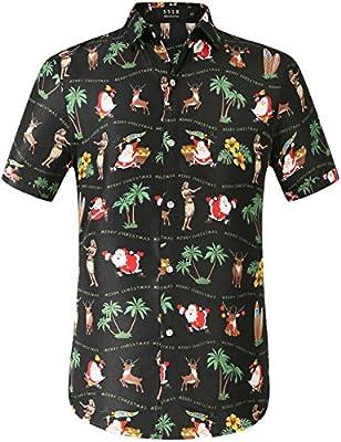 SSLR Men's Xmas Holiday Button Down Ugly Hawaiian Christmas Shirts