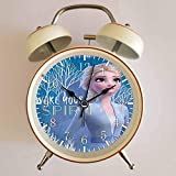 目覚まし時計 - FROZEN 2 アナと雪の女王 - Wake Your Spirit Elsaミニの大音量目覚まし時計 バックライト 静か 連続秒針 スヌーズ 電池式 置き時計 卓上時計 直径約4インチ(ホワイト)