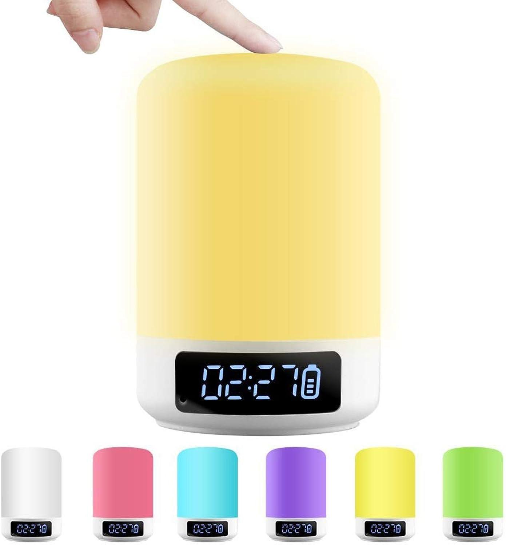 Blautooth Lautsprecher Nachtlicht LED Nachttischlampe Wake Up Licht Digitalwecker Dimmbar Sensor Berühren Schreibtischlampe Portable Drahtloser Lautsprecher,Geeignet für Kinder, Schlafzimmer, Camping