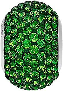 SWAROVSKI Pave Bead Crystal Dark Moss Green Color Stainless Steel Becharmed 14 mm-9.30 mm