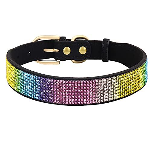 Collar de Perro de Diamantes de imitación Collar de Perro de Cuero Suave Collar de Gato de Perro de Cristal de Diamante Brillante Collar de Cachorro de Perro Mascota, Negro, S