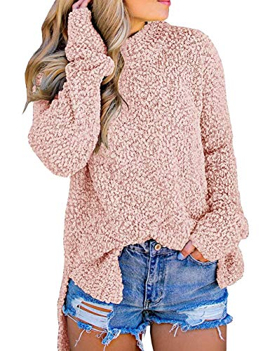 MEROKEETY Women's Long Sleeve Sherpa Fleece Knit Sweater Side Slit Pullover Outwears Pink