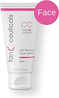 Tanceuticals Facial Self Tanner - CC Self Tanning Lotion for Face Gives Natural, Long Lasting Sunless Tan - Fresh Coconut Scent - Won't Clog Pores or Cause Acne - Easy to Apply - Dark Shade 1.7 oz