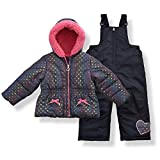 Arctic Quest Toddler Girls Metallic Rainbow Heart Print Snowsuit Fleece Lined Hooded Jacket and Bib Set, Grey & Black, 3T