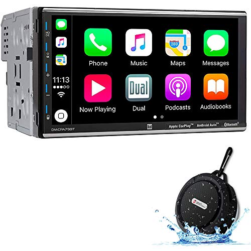 Dual DMCPA79BT 2DIN 7-inch Digital Media USB Car Stereo with Bluetooth Apple Carplay Android Auto with DiscountCentralOnline WB12 Bluetooth Speakers
