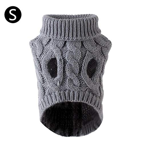 Freedomanoth Sweater Gestrickter Pullover Für Kleine Hunde Warme Hundepullover Hund Rollkragen Strickpullover Warm Hundejacke Für Herbst Winter