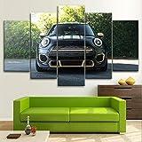 BURY Abstracto Cuadros Modernos Impresión De Imagen Artística Digitalizada | Lienzo Decorativo Salón Dormitorio |Mini Cooper Peformance Sports CarCuadro 5 Piezas XXL 100X55