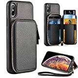 ZVE Case for Apple iPhone Xs and iPhone X, 5.8 inch, Leather...