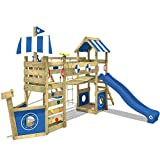 WICKEY Parque infantil de madera StormFlyer con columpio y tobogán azul, Casa...