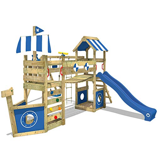 WICKEY Parque infantil de madera StormFlyer con columpio y tobogán azul, Casa de juegos de jardín...