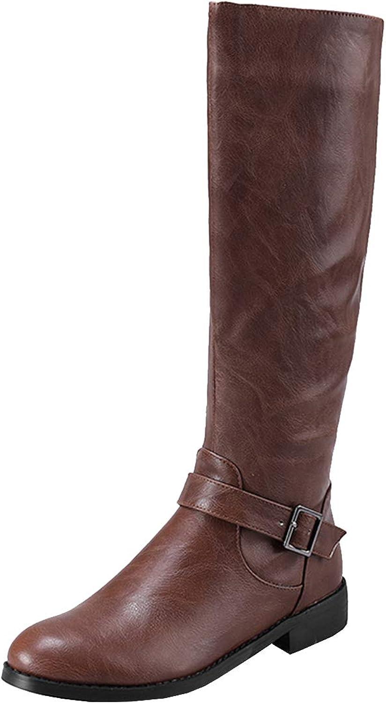 Vitalo Womens Low Heel Knee High Zip Up Horse Riding Boots