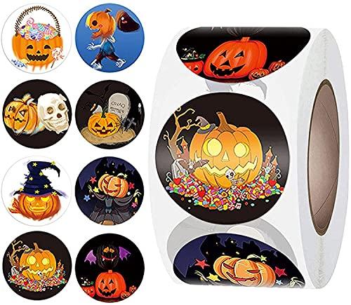 Pegatinas de Halloween para niños, 500 piezas autoadhesivas de murciélago de calabaza, etiquetas adhesivas en rollo de...