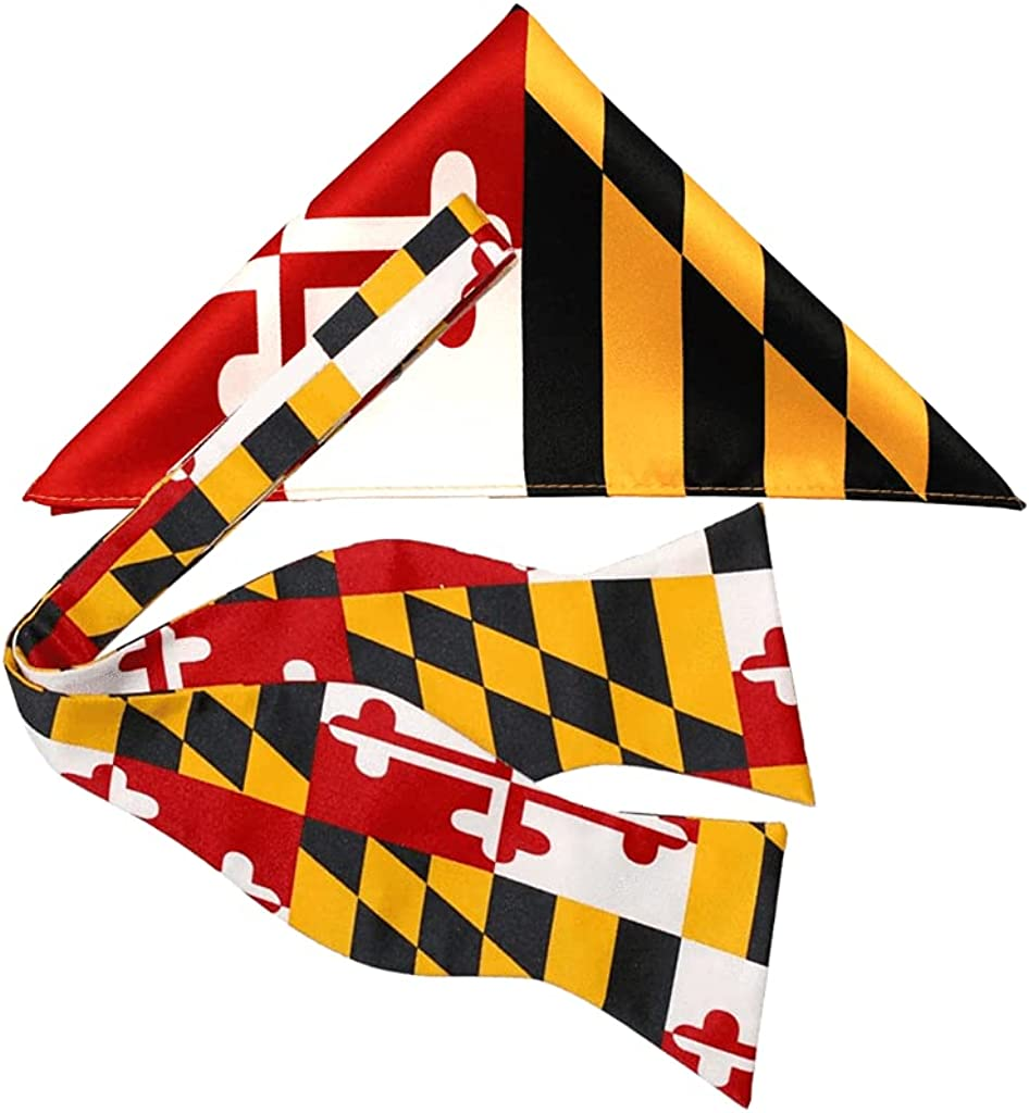 Route One Apparel | Maryland Flag Bowtie, Self-Tie, For Men and Boys, Great for Formal and Business Events, Weddings, Proms