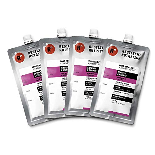Resilient Nutrition Long Range Fuel – Dark Chocolate & Hazelnut Energise & Rebuild – 4 x 100g Pouches - Natural Energy Nut Butter - Caffeinated High Protein Nootropic Ergogenic