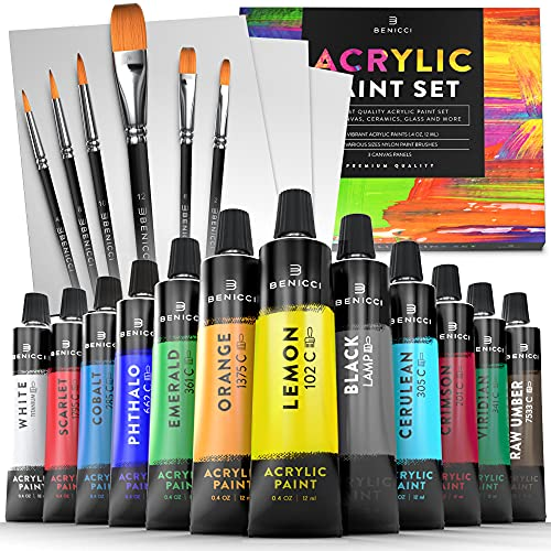 Acrylic Paint Set for Kids, Artists and Adults - 12 Vibrant Colors, 6 Brushes and 3 Paint Canvases - Perfect for Beginners or Professionals