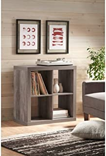 Better Homes and Gardens* Wood Storage Square Organizer 4-Cube Bookshelf in Rustic Gray