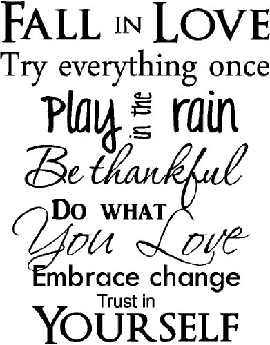 Fall in Love Try Everything Once Play in The rain be Thankful do What You Love Embrace Change Trust in Yourself Inspirational Home Vinyl Wall Quotes Decals Sayings Art Lettering