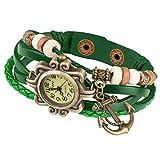 Taffstyle Damen-Armbanduhr Analog Quarz mit Leder-Armband Geflochten Charms Anhänger Uhr Retro Vintage Anker Gold Grün